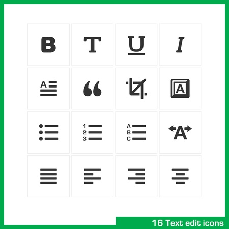 indent: Text edit icon set  Vector white pictograms for web, mobile, business  bold, normal, italic, font, ubderline, letter, cut, keyboard, language, page, kerning, numder