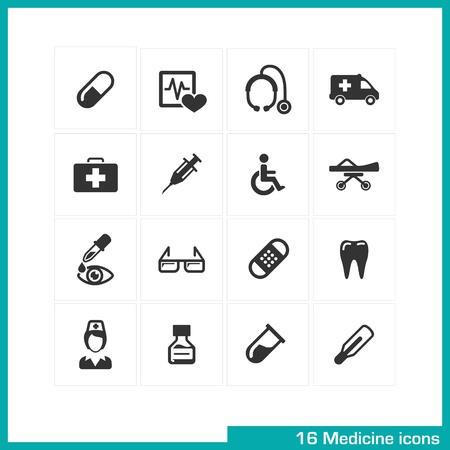 nurse injection: Medicina icone set Vector nero pittogrammi per il web, internet, computer, applicazioni per cellulari, interfaccia di design infermiera medico, iniezione, pillola, termometro, sedia a rotelle, farmaci, ambulanza, simbolo dei denti Vettoriali