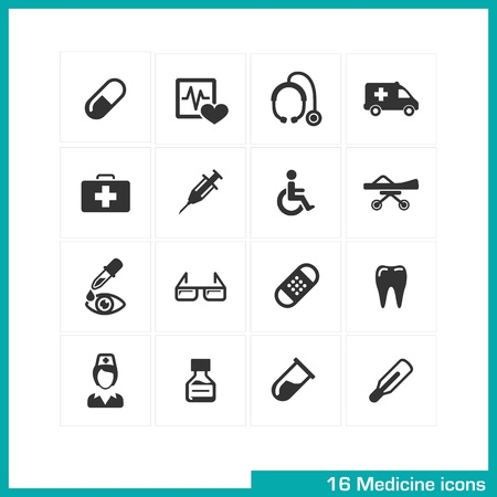Medicine icons set  Vector black pictograms for web, internet, computer, mobile apps, interface design  medical nurse, injection, pill, thermometer, wheelchair, medication, ambulance, tooth symbol