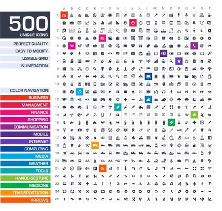 negócio: 500 ícones conjunto de vetores preto pictogramas para web, internet, aplicativos móveis, design de interface de negócios, finanças, compras, comunicação, gestão, informática, mídia, ferramentas gráficas, mãos, setas símbolos Ilustração