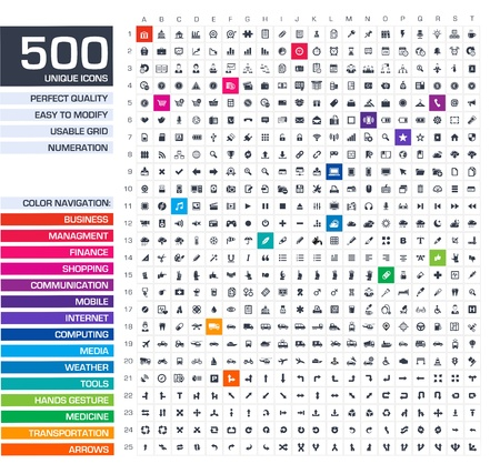 500 set di icone vettoriali bianco pittogrammi per il web, internet, applicazioni mobili, interfaccia di business progettazione, finanza, commerciale, comunicazione, management, informatica, media, strumenti grafici, le mani, le frecce simboli Archivio Fotografico - 21730686