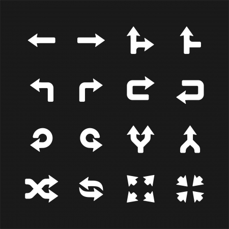 turn up: Arrows icons set on black  Vector white pictograms for web, internet, computer, mobile apps, navigation, business  branch, direction, buttons, switch, turn, left, right, undo, link, merge, move symbol  Illustration
