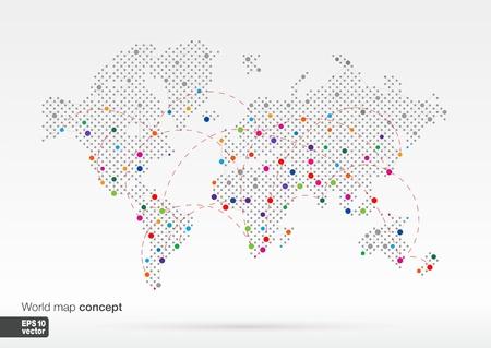 conectar: Mapa estilizado concepto del mundo con mayor ciudades Globos de negocio Color de fondo ilustración vectorial con líneas de diseño de comunicación, viajes, transporte, redes y web