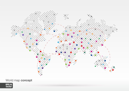 Stylized World Map concept with biggest cities  Globes business background Colorful vector illustration  With lines for communication, travel, transport, network and web design