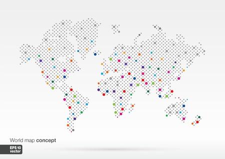 Stilisierte Weltkarte Konzept mit größten Städte Globes betriebswirtschaftlichen Hintergrund Bunte Vektor-Illustration