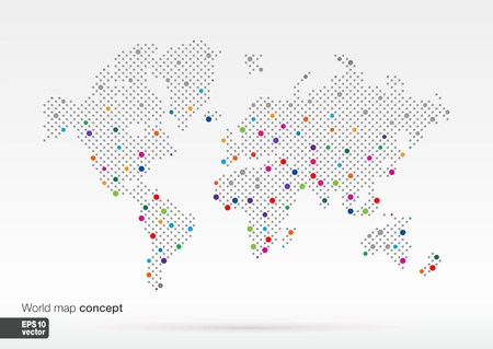 Stylized World Map concept with biggest cities  Globes business background Colorful vector illustration Imagens - 21730723