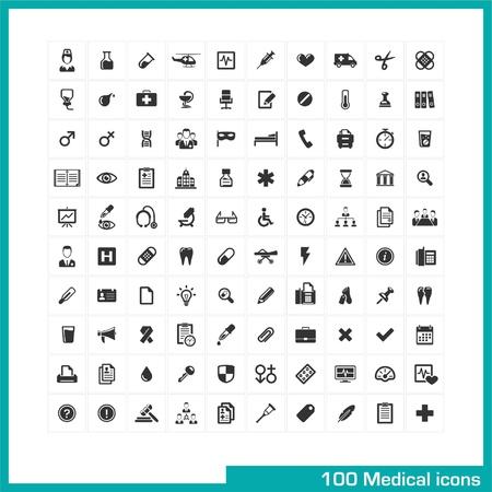 medische instrumenten: 100 medische pictogrammen vector zwarte pictogrammen voor het web, internet, computer, mobiele apps, interface design geneeskunde persoonlijk, verpleegster, dokter, pil, thermometer, gezondheid, apotheek, ziekenhuis, ambulance symbool