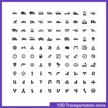 100 transportation icons set  Vector black pictograms for business, industry, navigation, web, internet, computer and mobile apps  car, ship, airplane, helicopter, bicycle, motorcycle, tram symbols