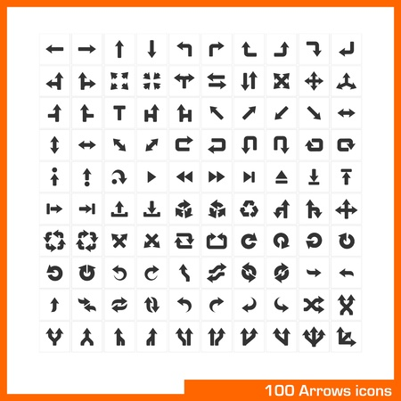 100 arrows icons set  Vector black pictograms for web, internet, computer, mobile apps, business presentations, navigation, transportation, interface design  direction, turn, left, right, move symbol Stock Vector - 21730741