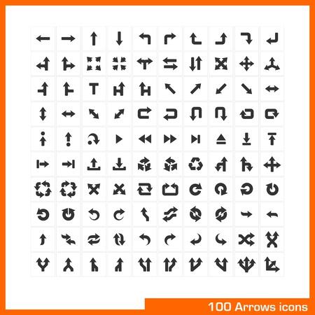 u turn sign: 100 arrows icons set  Vector black pictograms for web, internet, computer, mobile apps, business presentations, navigation, transportation, interface design  direction, turn, left, right, move symbol