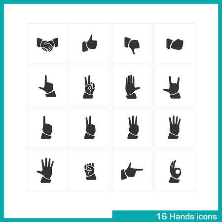 Hands gestures icon set  Vector black pictograms for web, mobile apps, interface design  handshake, like, thumb down, touch, fist, peace, palm, rock, one, two, three, four, five, pointing, ok symbol  Illustration