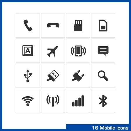 sim card: Mobile icon set  Pictograms for web, computer and mobile apps  Include pick up, flash card, sim, keyboard, plane, vibration, speech babble, USB, charge, search, wireless, router, connection symbol