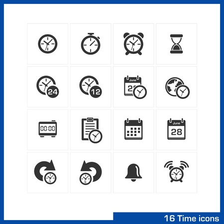 the date: Date and time icons set  Vector black pictograms for business, management, web, internet, computer and mobile apps, interface design  clock, alarm, bell, calendar, reminder, organizer symbols  Illustration