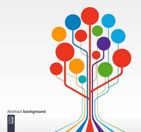コミュニケーション、ビジネス、社会的なメディア、技術、ネットワーク、web の直線と円の成長ツリーの概念と抽象的な背景デザイン ベクトル イ