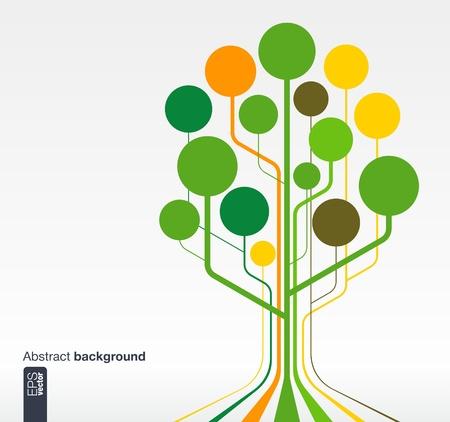 Resumen de fondo con líneas y círculos concepto de árbol de crecimiento para la comunicación, los negocios, los medios sociales, la tecnología, la red y el diseño web ilustración vectorial Foto de archivo - 21730881