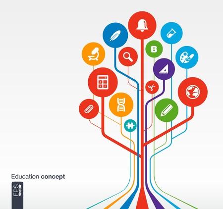 intellect: Priorit� bassa astratta di formazione con linee e cerchi concetto di albero Crescita con campana, scuola, scienza, calc, geografia, biologia, della matita e del microscopio di vettore dell'icona Vettoriali