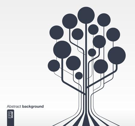 Abstracte onderwijs achtergrond met lijnen en cirkels Groei boom concept met klok, school, wetenschap, calc, aardrijkskunde, biologie, potlood en microscoop pictogram Vector illustratie