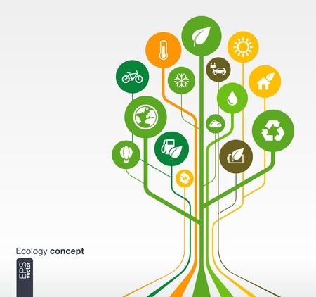 Abstracto de la ecología de fondo con líneas y círculos concepto árbol Crecimiento con eco, tierra, verde, reciclaje, naturaleza, bicicleta, sol, coche y casa icono ilustración vectorial