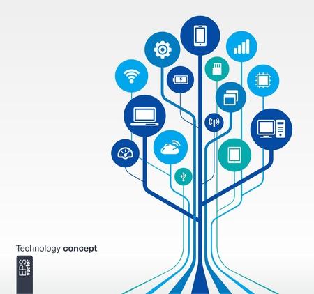 m�dia: Fundo abstrato da tecnologia com linhas e c�rculos de crescimento conceito circuito �rvore com o telefone m�vel, rede, computador, tecnologia, laptop, wi-fi, cart�o de mem�ria flash, cloud computing, usb, almofada e router �cones, vetorial, Ilustra��o