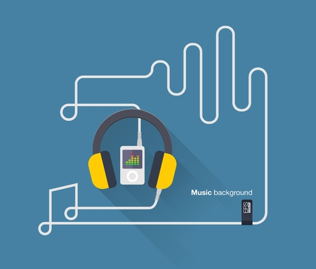 cabel: Abstract music background with mp3 player, headphones, cabel notes and music beats  Vector illustration  Flat design