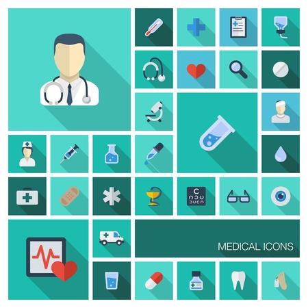 Vector illustratie van platte gekleurde pictogrammen met lange schaduwen Abstract geneeskunde achtergrond met medische, gezondheid, gezondheidszorg, arts, pillen, kruissymbolen Design elementen voor mobiele, web applicaties