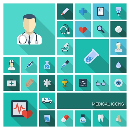 Vector illustration of flat colored icons with long shadows  Abstract medicine background with medical, health, healthcare, doctor, pills, cross symbols  Design elements for mobile, web applications   Vector