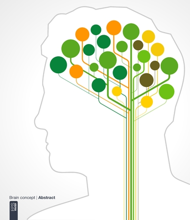 medical technology: Abstract background with lines and circles  Brain concept with silhouette of a human head for ecology, infographic, business, medical, technology, network and web design  Vector illustration
