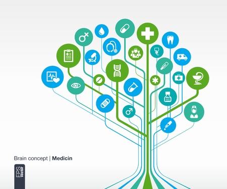salud: Medicina Fondo abstracto concepto de cerebro con m�dicos, salud, cuidado de la salud, enfermera, dientes, term�metro, m�dico, p�ldoras y icono de la cruz vectorial infograf�a ilustraci�n