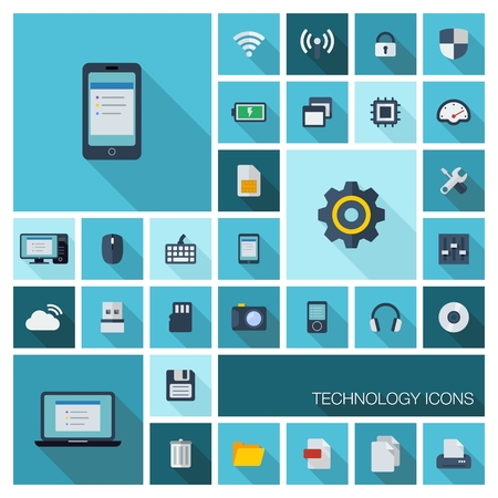 Vector illustration of flat color icons with long shadow  Abstract technology background  Digital concept with mobile phone, laptop, cloud computing, cogwheel, settings, network and media symbols   Vector