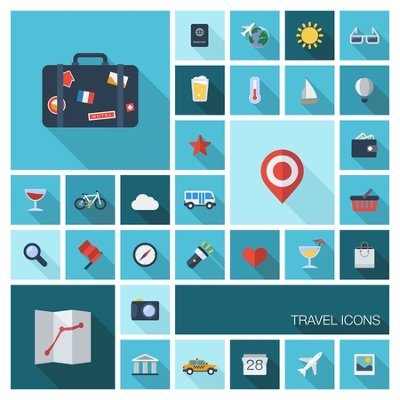 Vector illustration of flat color icons with long shadow  Traveling, tourism, planning summer vacation, airplane, map, luggage symbols