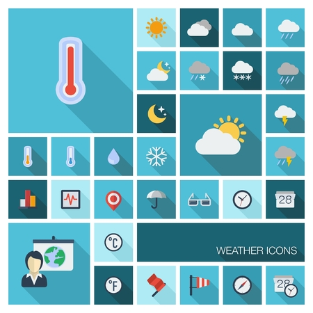 sleet: Vector illustration of flat color icons with long shadow  Meteo set for web, computer, mobile apps, internet, interface design  weather cast, cloud, rain, snow, moon, thermometer, umbrella symbol