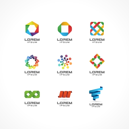 Set of icon design elements  Abstract ideas for business company  Internet, communication, technology, geometric concepts  Pictograms for corporate identity template  Stock Illustration  Vector