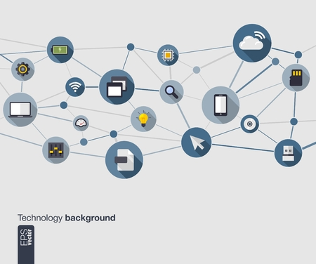 Abstract technology background with lines, connected circles and flat icons  Network concept with mobile phone, internet, cloud computing, circuit , usb, pad and computer icons  Vector illustration