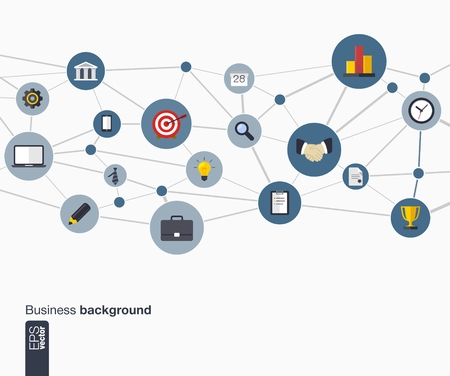 market research: Abstract business background with lines, connected circles and flat icons  Network concept for business, communication, marketing research, strategy, mission, analytics and web design  Vector   Illustration