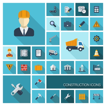 Vector flat colored icons set with long shadows Abstract background with industrial, architectural,engin eering symbol  worker,building,tru ck,draft Constructi on design elements in graphic illustration