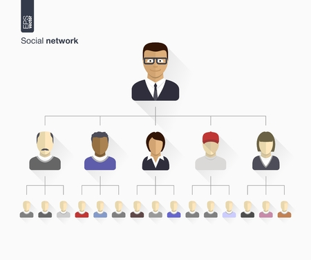 hierarchy: Set of flat icons  vector illustration   Human persons avatars for web, social, management, business, internet, computer, mobile apps, interface design  man, woman connected as network