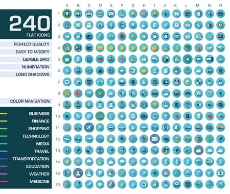240 zestaw ikon Vector ilustracji kolorowych piktogramów płaskich z długimi cieniami Symbole dla sieci, internetu, aplikacji mobilnych, projektowania interfejsu biznes, finanse, zakupy, komunikacja, medycyna edu nia,