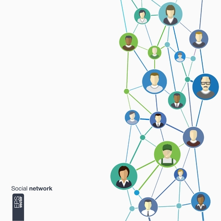 Flat icons of persons in colored circles for graphic design  vector illustration   Human avatars connected as network for web, social, management, business, internet, computer, mobile, infographics
