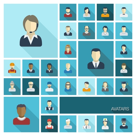 Vector flat colored icons set with long shadows  Illustration of people avatars for web, social, management, business, internet, mobile apps, interface design  man,woman, worker, doctor, worker, nurse  Vector