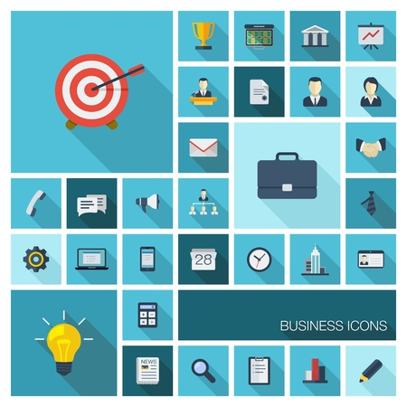 reputation: Vector illustration of flat color icons with long shadow  Abstract business background  Concept for communication, marketing research, strategy, mission, analytics and web design
