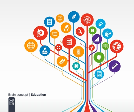cognicion: Fondo de educaci�n abstracta con l�neas y c�rculos concepto de cerebro con la ciencia, la historia, la campana, la escuela, calc, geograf�a, biolog�a, l�piz y el icono del microscopio vectorial infograf�a ilustraci�n