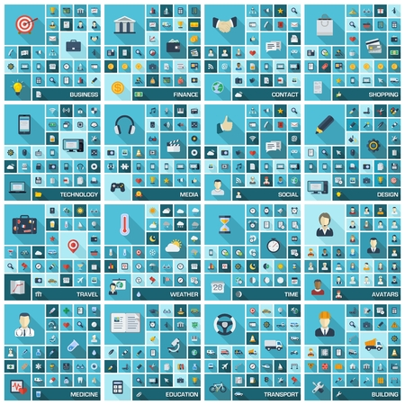 大きいアイコン設定の長い影記号フラット色ピクトグラムとビジネス、金融、ショッピング、通信、教育、医療、メディア、技術、輸送のための記号のベクトル イラスト 写真素材 - 29411899