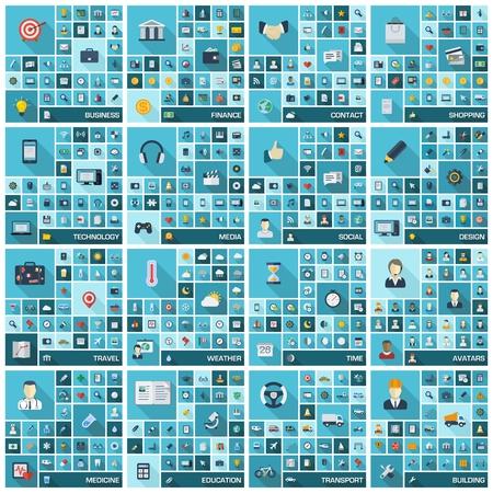 simgeler: Uzun gölgeler yap ve iş, finans, alışveriş, iletişim, eğitim, tıp, medya, teknoloji, ulaşım için semboller ile Büyük simgeler düz renkli piktogramının Vector illustration set