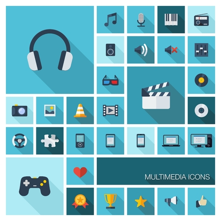 web cam: Vector illustration of flat color icons with long shadow  Abstract multimedia and technology background  Digital concept with music, film, gaming, clapperboard, phones, joystick, video, audio symbols