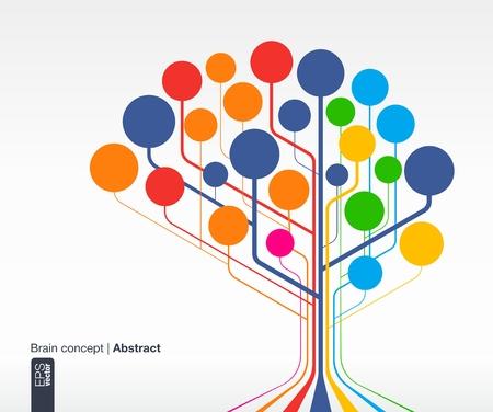 抽象的な背景線や円脳コンセプト通信、インフォ グラフィック、ビジネス、医療、社会的なメディア、技術、ネットワーク、web のデザイン ベクト