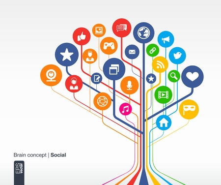 Abstract social media background with lines and circles  Brain concept with earth, network, computer, technology, like, mail, mobile and speech bubble icon  Vector infographic illustration   Illustration