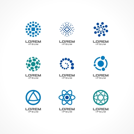 atomo: Conjunto de elementos de diseño de icono de las ideas abstractas de la empresa de negocios, la comunicación, la tecnología, la ciencia y los conceptos médicos Pictogramas de identidad corporativa plantilla de un Stock de ilustración vectorial Vectores