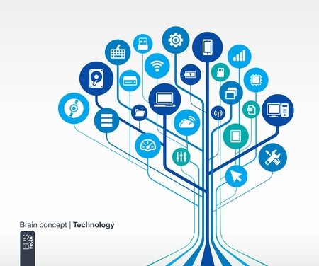 휴대 전화, 네트워크, 컴퓨터, 기술, 노트북, 플래시 카드, 컴퓨팅, USB, 패드 및 라우터 아이콘 벡터 인포 그래픽 일러스트와 함께 추상 기술 배경 브레 일러스트