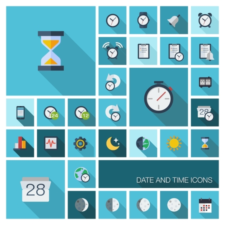 organizer: Vector flat colored icons with long shadows  Date and time pictograms in graphic illustration for business, management, web, mobile apps, interface design  clock, alarm, calendar, organizer symbols