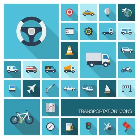 平らなベクトル輸送セット ビジネス、業界、インターネット、コンピューターおよびモバイル アプリ車、ホイール、長い影付きのアイコンの色ヘリ